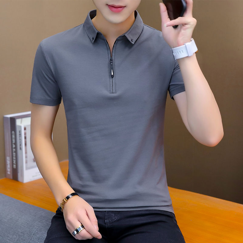 Main quality men's short sleeve shirt on clothes half-sleeved   polo   shirt summer lapel