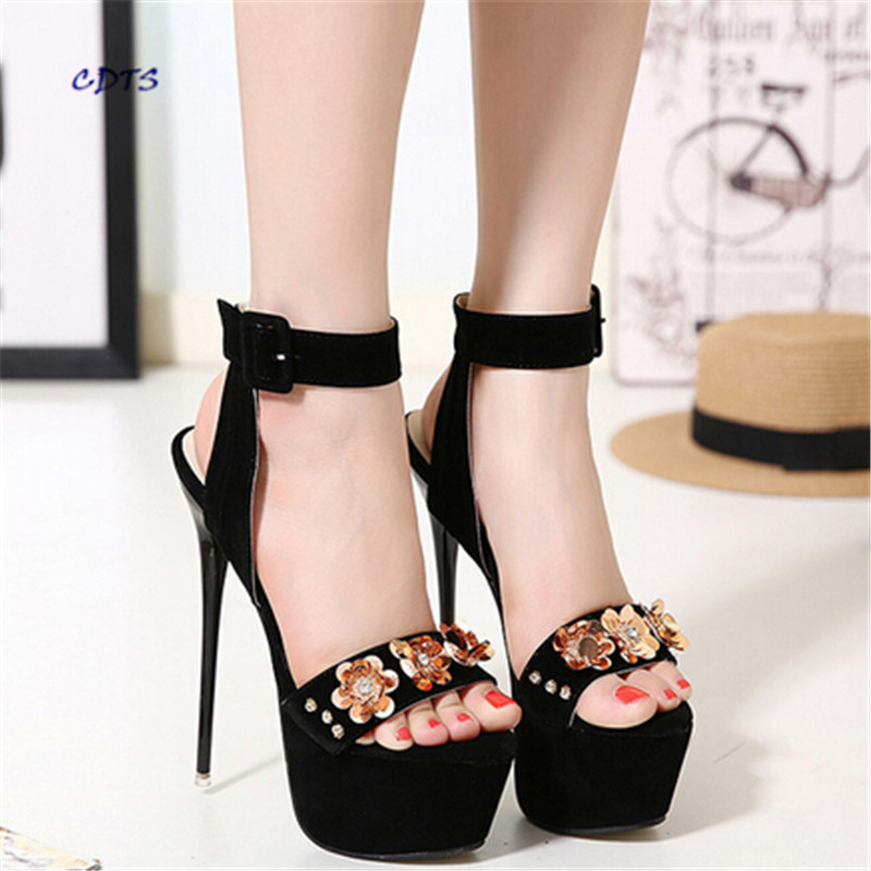 ФОТО zapatos mujer Summer 17/18cm ultra high heels thin heels sandals diamond flower shoes sexy women's Ankle Strap Party/Dress pumps
