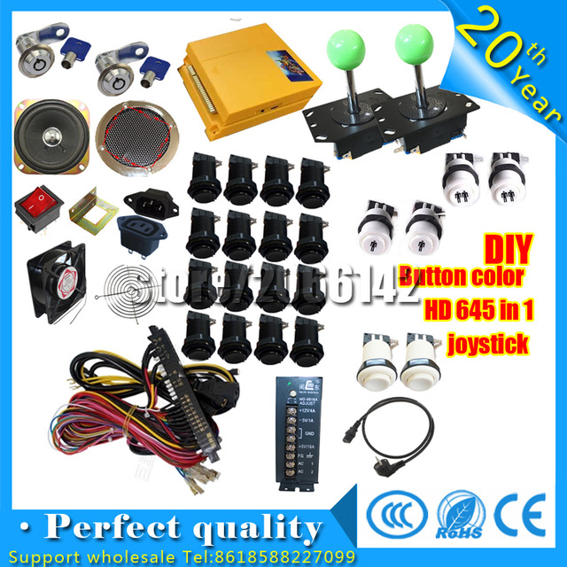 HD 645 in 1 DIY Arcade Parts Bundles Kit pandora's box 4 Joystick,button,Microswitch,2 Player USB To Jamma Control Board