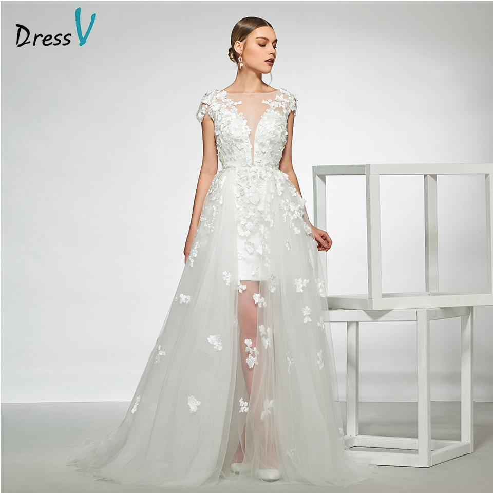 Dressv elegant sample scoop neck cap sleeves wedding dress appliques a line floor length simple bridal gowns wedding dress