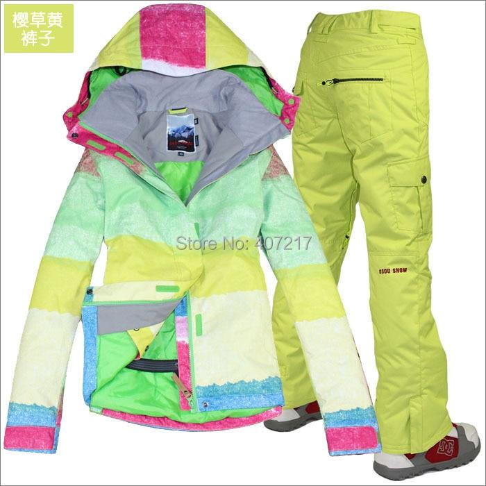 Womens Snow Suit One Piece >> 2014 hot womens ski suit ladies snowboard suit bright color zone jacket + yellow pants snow wear ...
