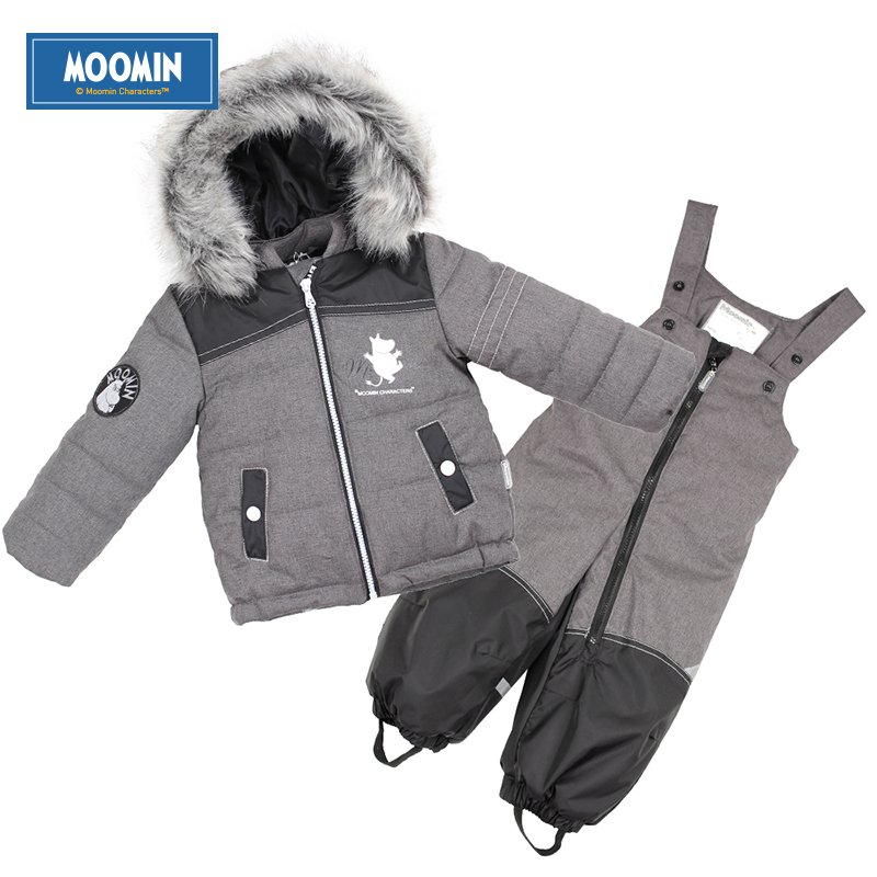 baby boy Winter clothes Moomin 2015 New arrival Gray Boys Winter Snow wear Fashion Zipper Character baby boy clothing set