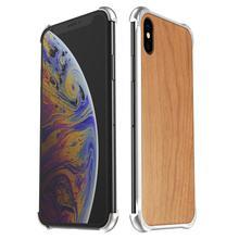 IPhone XS için Max XR iPhone X XS kılıf kapak hibrid ahşap Metal çerçeve tampon arka kasayı iPhone 6 6S 7 8 artı