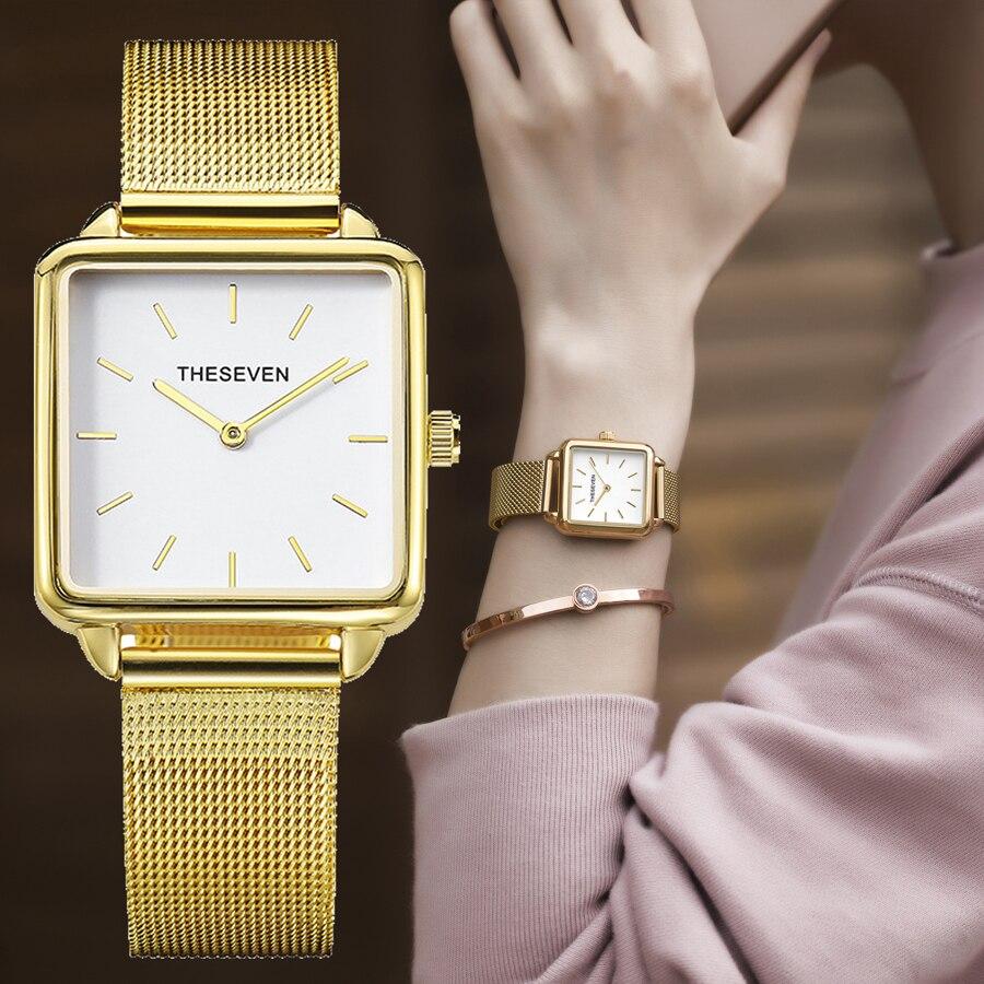 2019 Luxury Designer Brand Square Women Watches Stainless Steel Strap Ladies Bracelet Watch Women Fashion Quartz Wristwatch