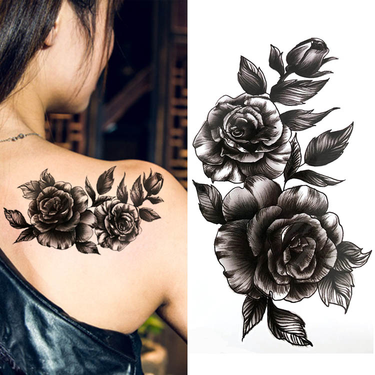 Black Big Flower Beautifulred Rose Flower Body Art Waterproof Fake Sexy For Woman Flash TemporaryTattoo Stickers 10*20CM KD1140