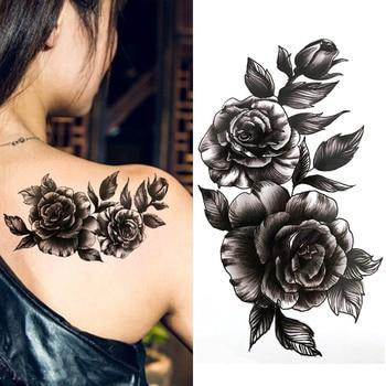 Black big flower beautifulred rose flower Body Art Waterproof fake sexy For Woman Flash TemporaryTattoo Stickers 10*20CM KD1140
