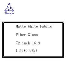 цена Thinyou 72 inch 16:9 Matte White Fabric Fiber Glass Simple Projector Screen HD Movie for LED LCD DLP projector Wall Mounted онлайн в 2017 году