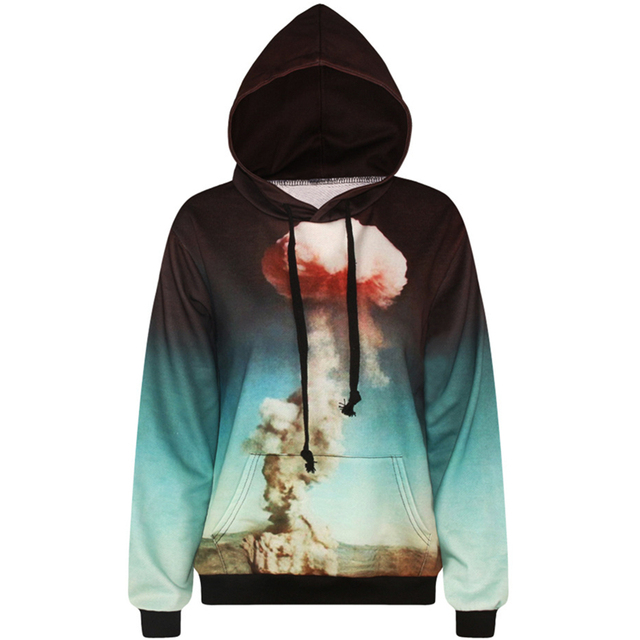 17f906f7100f Harajuku 3D Print Nuclear explosion Sweatshirts Fashion Long sleeve with  hat men Women Hoodies Cartoon Hoody Hooded Pullover