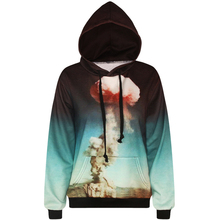Harajuku 3D Print Nuclear explosion Sweatshirts Fashion Long sleeve with hat men Women Hoodies Cartoon Hoody Hooded Pullover