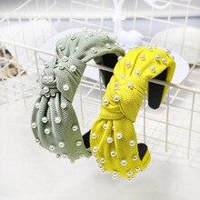 Neon Green Crystal Pearls Hairbands Handmade Headband Big Wide Knot Hair Band Cross Rhinestone Headwear Accessories