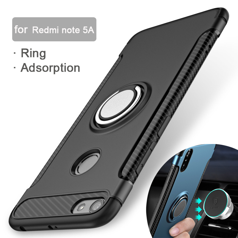 newest 49a44 58aea Ring Adsorption Cases For Xiaomi Redmi Note 5 Global Version Case Note 5A  Prime Cover For Xiomi Redmi 5 Plus Pro TPU Protector