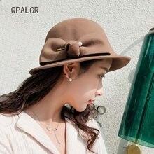 QPALCR 2018 nuevo invierno mujeres Fedora sombreros 100% sombrero de  fieltro de lana Arco de 230b074c8e2