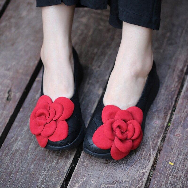 2018 ручной работы Женские туфли-лодочки Леди Настоящее женская кожаная обувь мода цветок Туфли без каблуков для Для женщин мягкая Sapatos Mujer