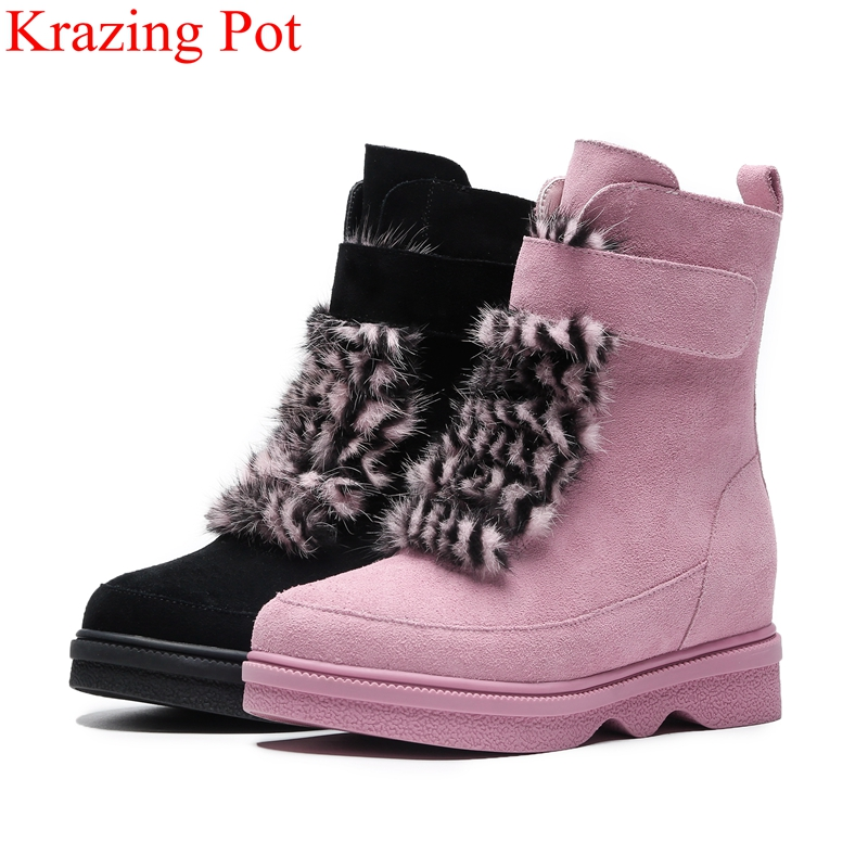 2018 big size lace up platform cow suede round toe women ankle boots elegant fur sweet increased keep warm winter shoes L03 lace up suede round toe platform shoes