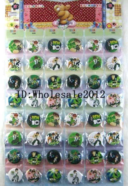 Free shipping 10 sheets 480pcs ben 10 Badge Button Pin 3cm party favor gift