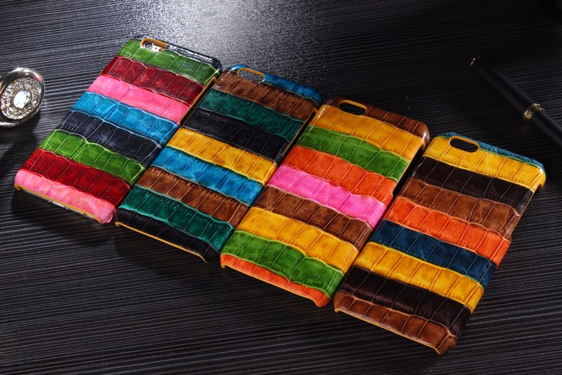 color case for iPhone 6 6S Plus crocodile genuine leather
