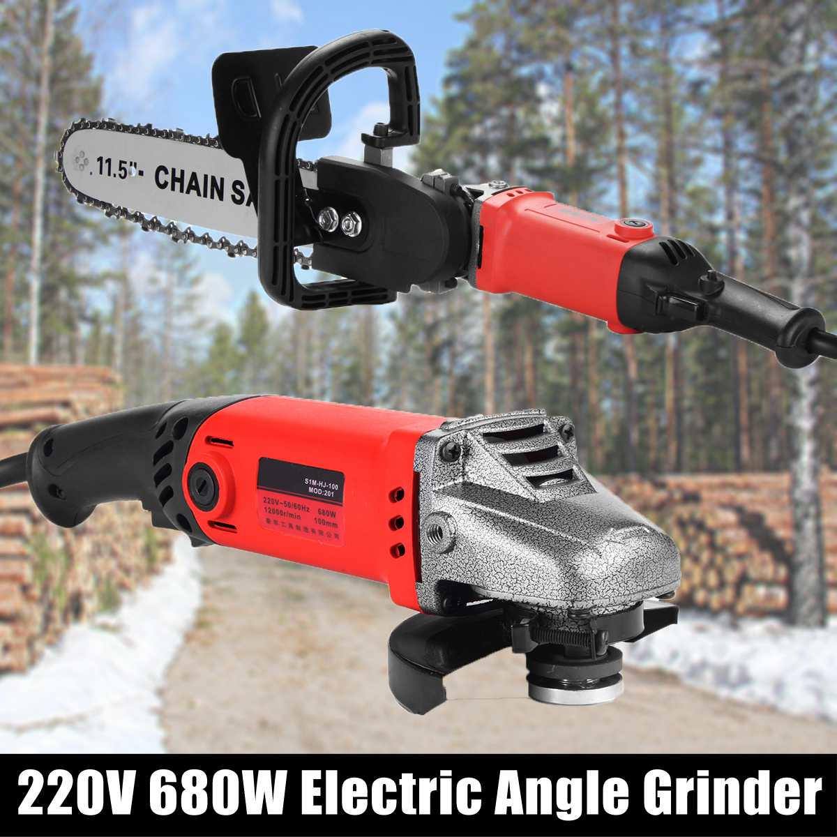 220V 680W 12000rpm Electric Angle Grinder Spindle M10 Chainsaw Bracket Change For Polishing