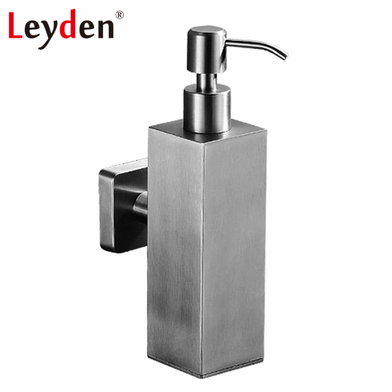 Leyden Stainless Steel Square Liquid Soap Bottle Brushed Nickel Wall Mounted Hand Liquid Soap Dispenser Bathroom Accessories
