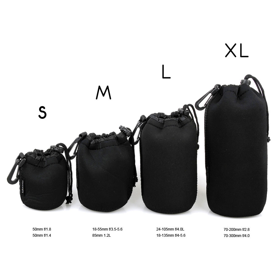 Lightdow Pouch Lenses Carry-Case Fujifilm Nikon Thick Neoprene Canon Pentax Sony