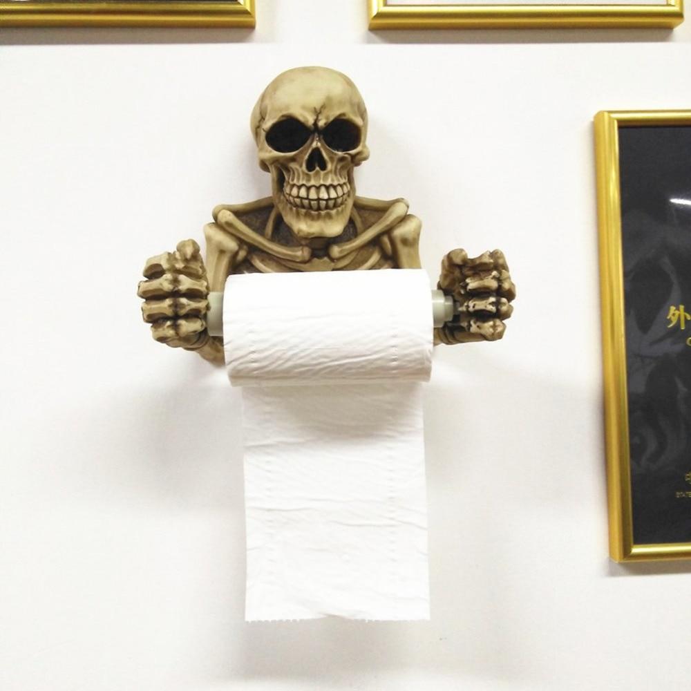 Tissue Holder Novelty Skull Shape Wall Hanging Kitchen Bathroom Toilet Roll Paper Towel Rack Plastic Holder Home Supplies