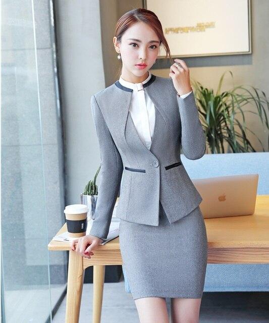Formal Wanita Abu-abu Blazer Wanita Bisnis Setelan dengan Rok dan Jaket Set  Elegan Pakaian d688974aa7