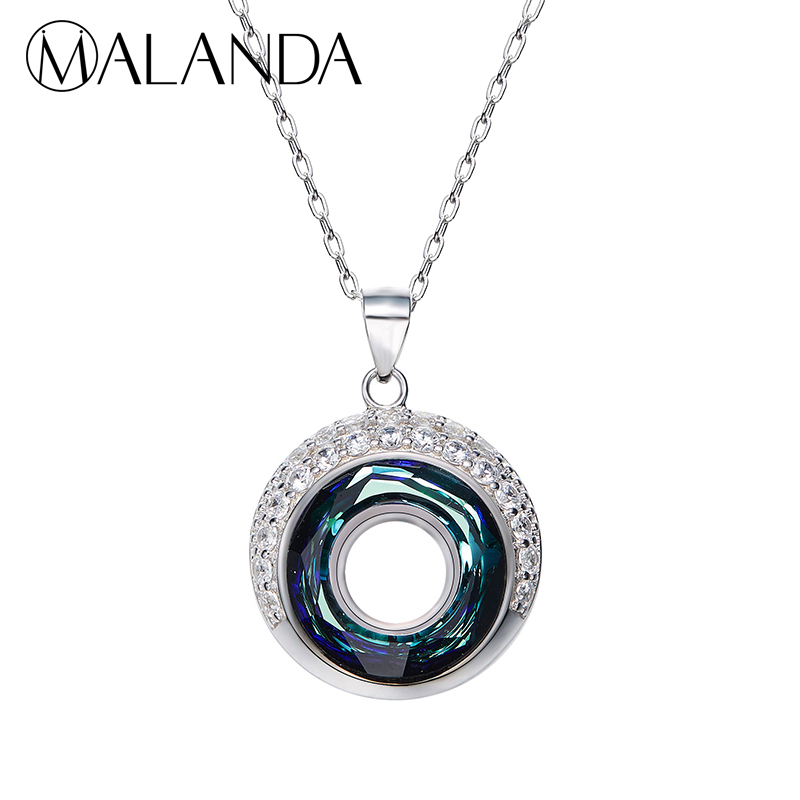 Brand 925 Sterling Silver Necklace Round Crystals From Swarovski Maxi Necklaces Pendants For Women Wedding Jewelry Gift