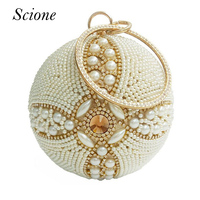 2017 Round Pearl Evening Bags Luxury Diamond Women Day Clutch Bags Ball Purses Globe Crystal Beaded Wedding Party handbags Li451