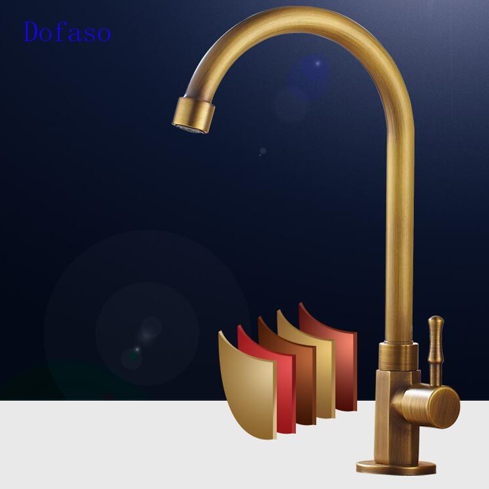 Dofaso vintage all brass kitchen faucet and basin antique bathroom faucet cold tap single hole sink water tap torneria