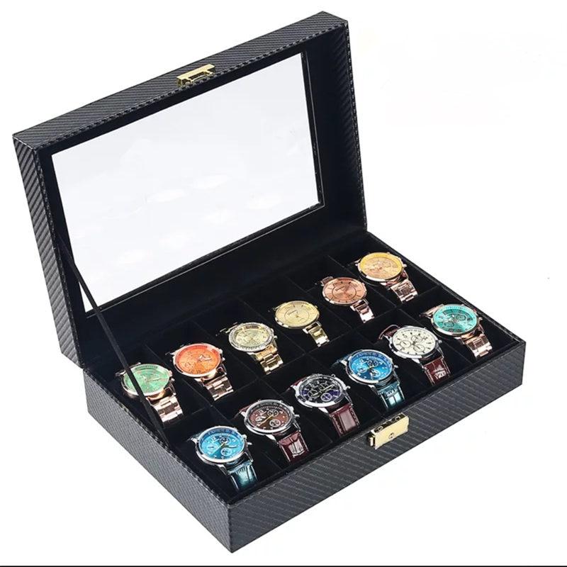 12 slots koolstofvezel horloge opbergdoos met slot zwart PU lederen - Horloge accessoires