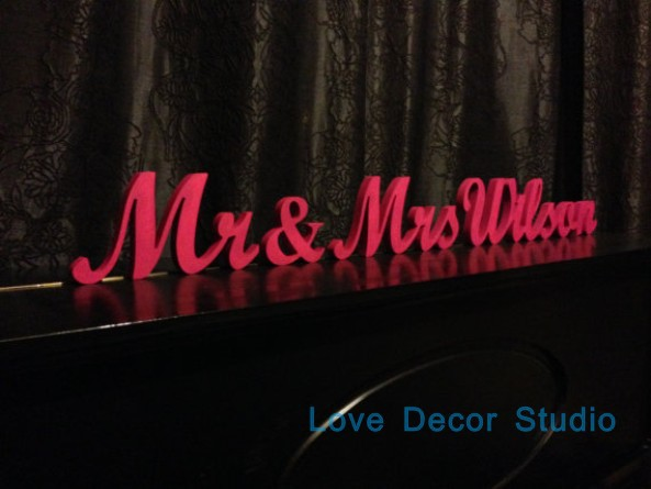 Wedding Sign Mr&Mrs Surname Personalized Gift Custom Sign