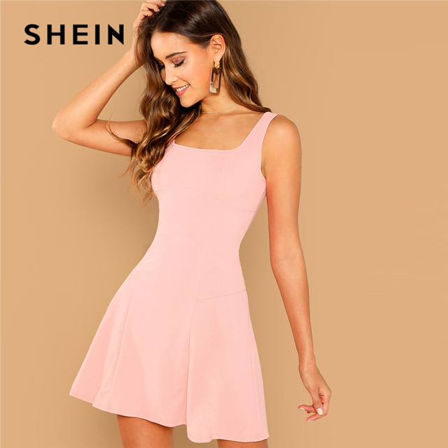 5fdf9e7fd9 SHEIN Pink Party Solid Fit And Flare Straps Neck Sleeveless Short Dress  Autumn Elegant Women Dresses