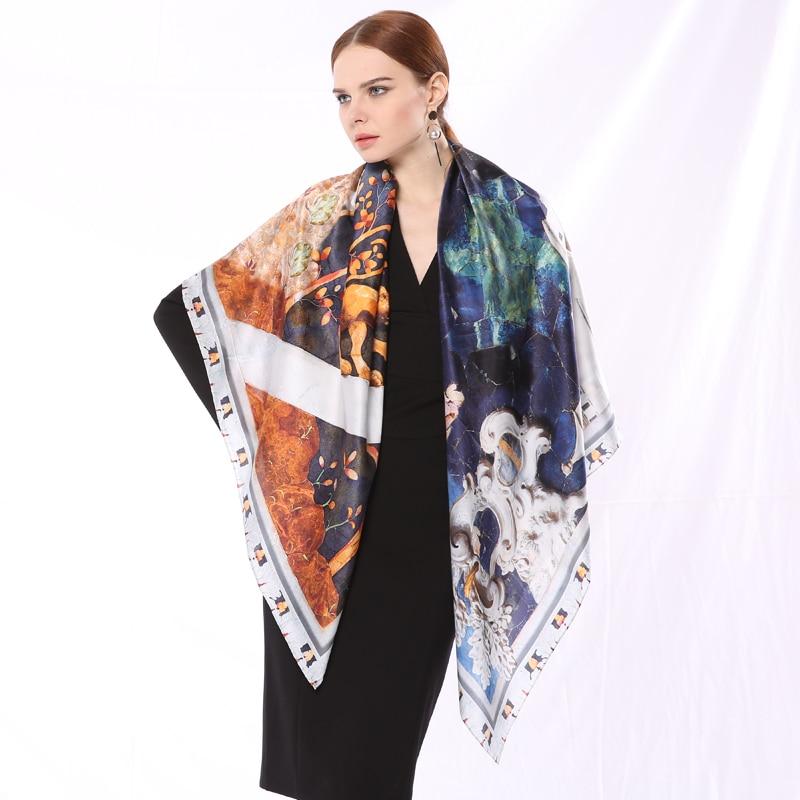 2018 Spring New Fashion Large Size Women Scarf 100% Silk Satin Cartoon Digital Print Cute 135*135cm Pashmina Casual Scarves
