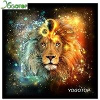 YOGOTOP Diamond Painting Cross Stitch Room Decor Handicraft DIY Diamond Mosaic Embroidery Lion Rhinestone Pattern ZB524