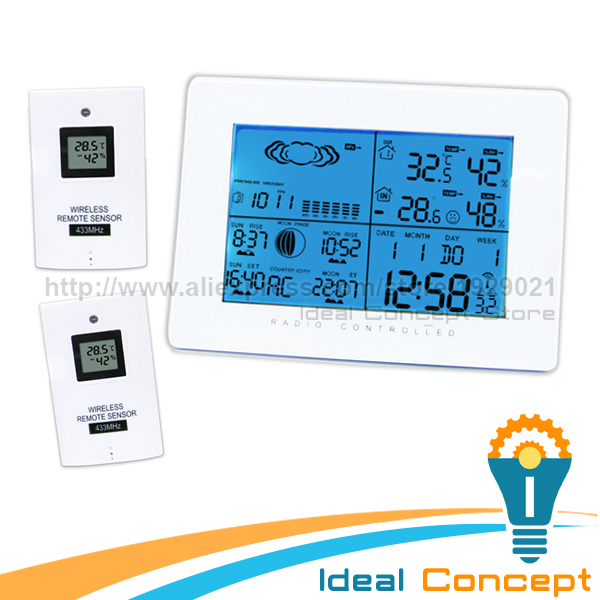 Indoor Outdoor Thermometer <font><b>Temperature</b></font> Humidity w/ RCC Radio Controlled Clock + 2 Remote Sensor Digital Wireless Weather Station