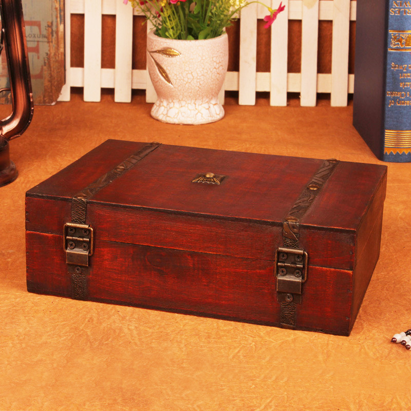 NICE WOODEN TREASURE CHEST STORAGE BOX W SHELF old looking s#001 wood boxes new