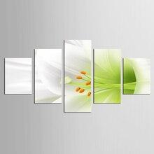 5 panel fresh white lily mural art home decoration living room canvas printing modern painting XL-FJ308-1