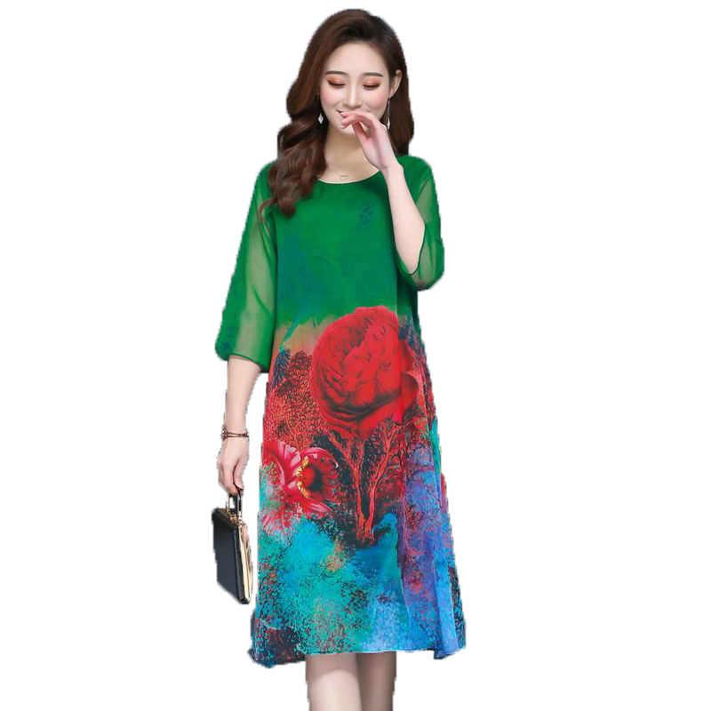 女性の夏のドレスシルクワンピース Vestidos Mujer 赤、緑、グレー花柄ラウンド衿五分袖シフォンドレス XL