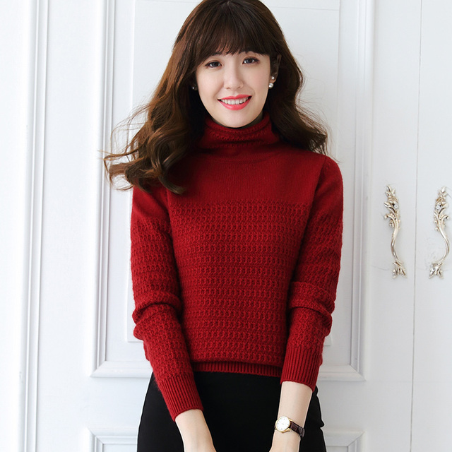 New Arrival Women s Sweater 100% Cashmere Pullover Winter Warm Ladies  Turtleneck Clothes Warm Jumpers Woolen Knitwear Girls Tops 58835efa6