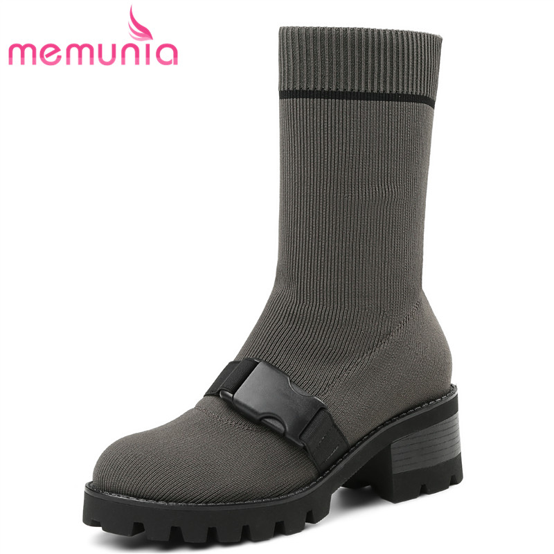 MEMUNIA 2018 new arrive fashion mid calf boots warm autumn winter boots slip on comfortable round toe med heels female shoes winter women boots basic fashion round toe comfortable flat shoes female footwear mid calf warm boots popular wholesale dgt674