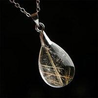 Genuine Natural Gold Rutilated Quartz Crystal Water Drop Pendant AAA