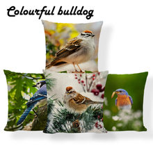 Animal Bird Cushions Sparrow Flower Leaves Cover Pillow Blue Snowflake Boho Beds Holiday Gift Throw Pillow Case 17X17 Linen Kids(China)