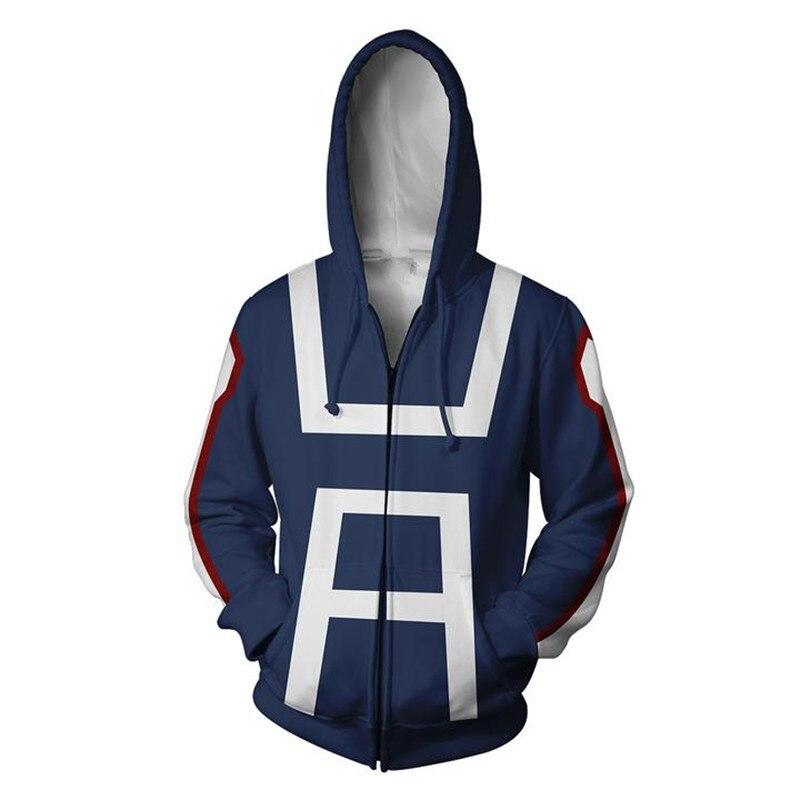 Nova 3D Hoodies Homens Imprimir O Meu Herói Academia Boku nenhum Herói Academia Unisex Primavera Outono Moda Casual Zipper Top Coat moletom