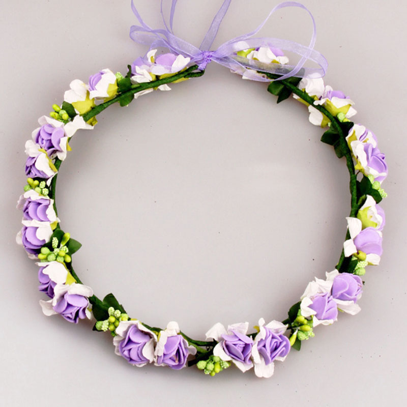 Bridal Flower Wreath Artificial Wedding Hair Flower Wreath Bridal Garland Wedding Flower Girl Headpiece Childrens Wreath