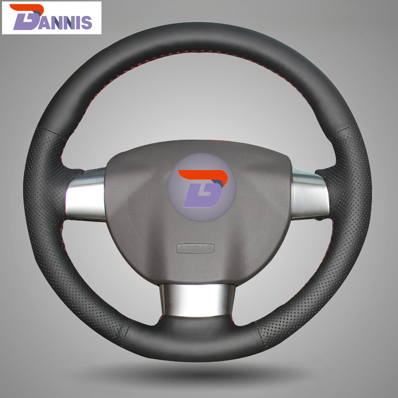 BANNIS Black Artificial Leather DIY Hand stitched Steering Wheel Cover for Ford Focus 2 Focus 3