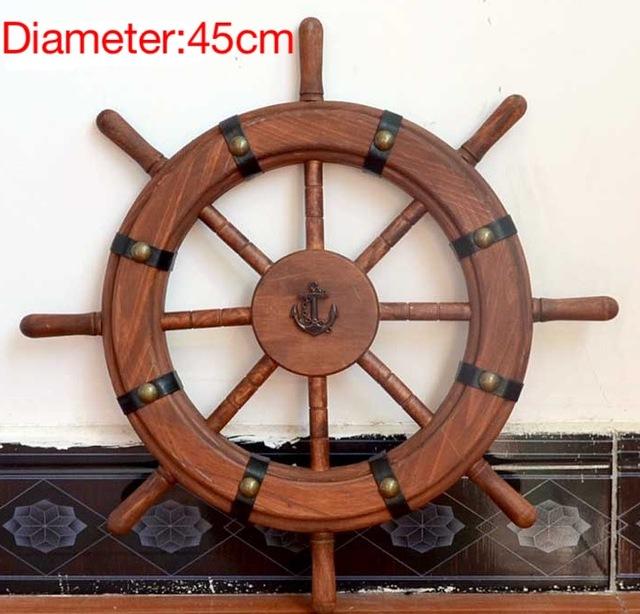 timón Retro Mediterráneo 1 pieza de diámetro: 45cm remache timonel Barco de madera de pino volante decoración de la pared del salón