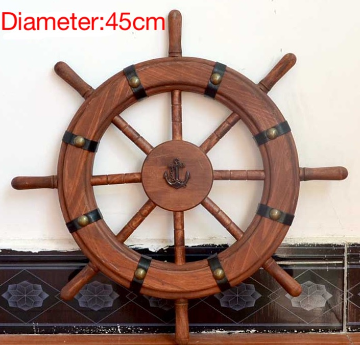 1Piece Diameter: 45cm Mediterranean Retro Rudder Rivet Helmsman Ship's Pine Wood Steering Wheel Living Room Decoration Wall