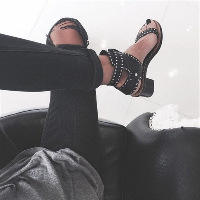 Fashion Design Studded Leather Women Sandals Combat Ankle Boots Chunky Heel Gladiator Sandals Women Summer Shoes Woman Sandalias