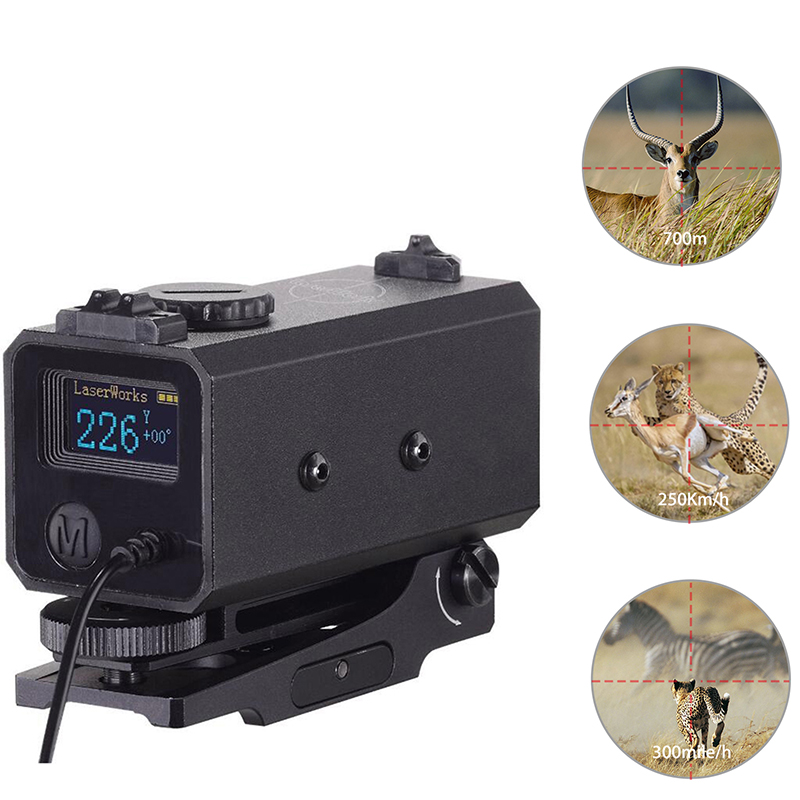 700m Laser Rangefinder Distance Meter Hunting Shooting Bow Gun Tactical Rifle Scope Accessory Archery Universal with Rail Mount 700m mini laser rangefinder for riflescope laser sight rifle scope mate laser scope distance meter for hunting ls002