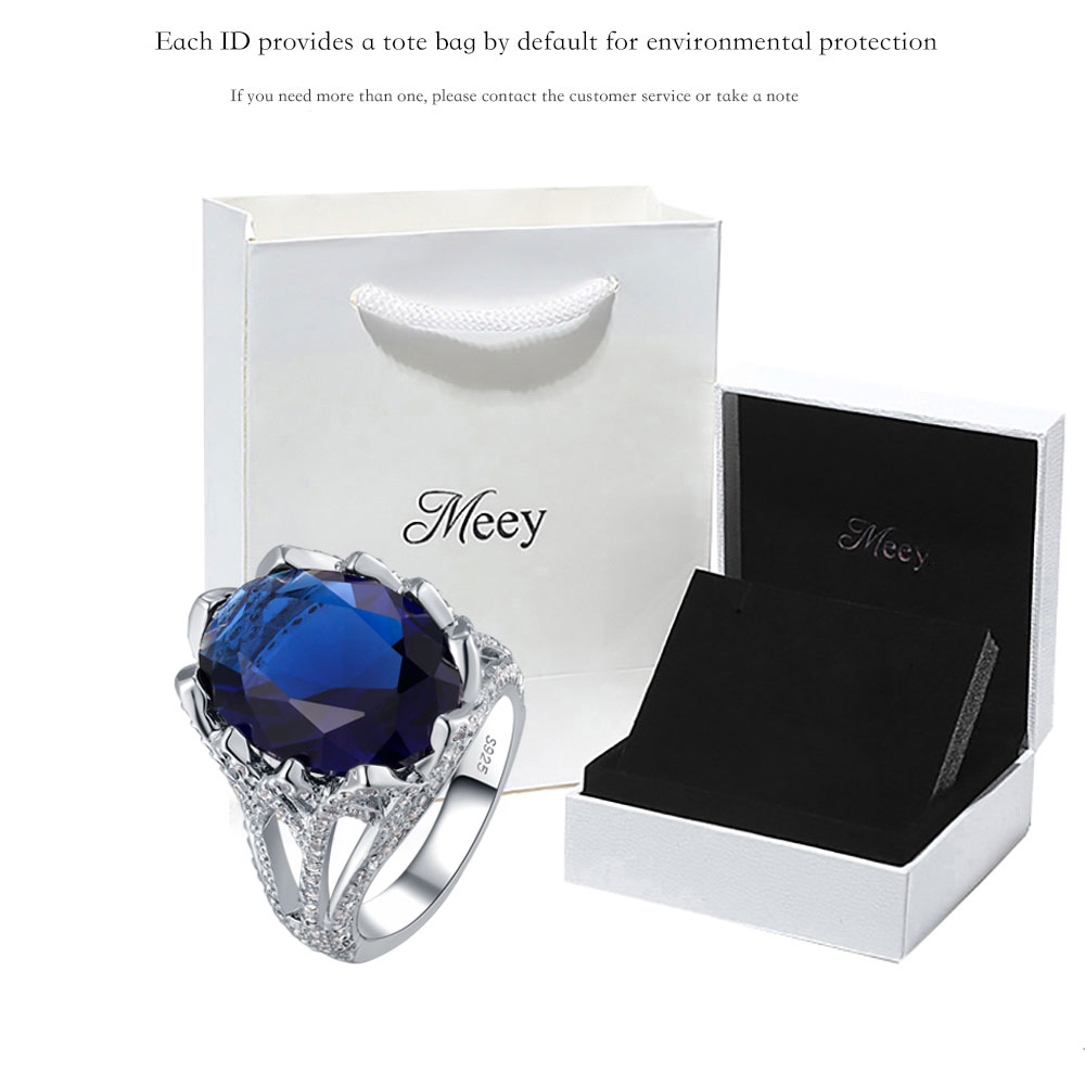 Best selling Jewelry Standard 925 Silver Lady Classic Ring High quality Fashion Blue Gem Anniversary Gift Ball Party in Rings from Jewelry Accessories