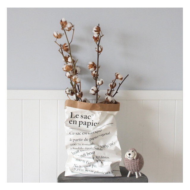 Ins popular Nordic style kraft paper storage bag paper flower vase le sac en papier Shooting props